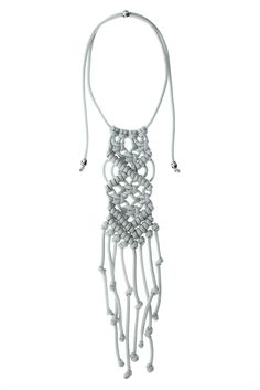 "ParaCorda ""Rock Star"" Macramé Necklace - Light Gray"