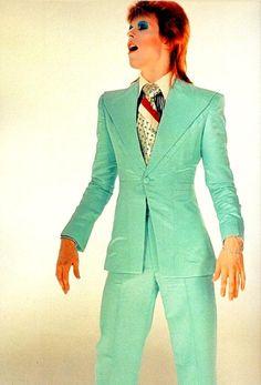 The 'Life on Mars' suit - 1972 ice blue suit designed by Freddi Buretti.