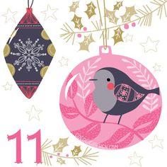 Christmas advent 11 © Gina Maldonado 2015 cocogigidesign.com #Christmas #baubles #advent