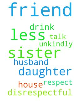 Friend s sister -  Prayer that my friends sisters husband will respect her. That he will not talk so unkindly to her and about her with their daughter. That he will drink less and have less disrespectful friends at the house.  Posted at: https://prayerrequest.com/t/Tk7 #pray #prayer #request #prayerrequest