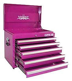 Pink TOOL BOX From The Pink Superstore - Its a tool box but also works great as a small dresser, organizer and much more! The Original Pink Box, Pink Tool Box Pink Tool Box, Rangement Makeup, Small Dresser, Make Up Storage, 5 Drawer Chest, Everything Pink, Makeup Tools, Makeup Box, Makeup Ideas