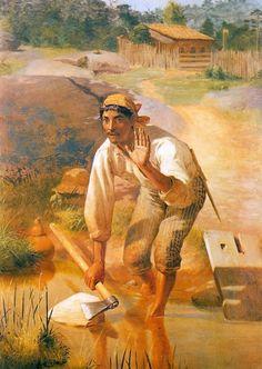 Amolação interrompida (1894). Almeida Júnior (1850-1899). óleo sobre tela (200 X 140). Pinacoteca do Estado de São Paulo, Brasil.