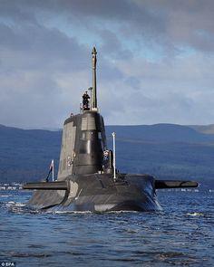 The British Royal Navy's Astute Class attack submarine, HMS Ambush, the second of the Roya. Royal Navy Submarine, Yellow Submarine, New Aircraft, Military Aircraft, Nuclear Submarine, Navy Day, Us Navy Ships, Navy Military, Super Yachts