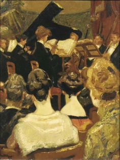 ♪ The Musical Arts ♪ music musician paintings - At The Concert, 1922, Martin Monnickendam. Dutch (1874 - 1943)