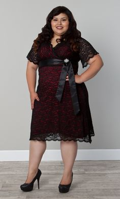 "So cute!! Kiyonna's Wholesale Assistant AND Real Curve Cutie Jasmine (0x, 5'3"") is looking super pretty in the Retro Glam Lace Dress.  #KiyonnaPlusYou  #Kiyonna  #PlusSize"