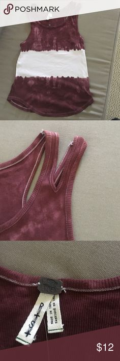 Free people tank top Tie dye tank top with unique double straps. Maroon and white stripes. Never worn. 100% cotton Tops Tank Tops