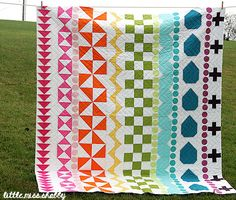 """Inspiring """"Elonie's Rainbow Rows"""" quilt by Corey Yoder of Little Miss Shabby. The zig zag quilting is just great too!"""