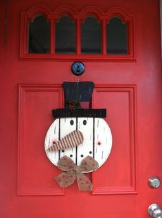 Snowman Door Decor Wooden Snowman Wreath by FromTheCoast2TheCity