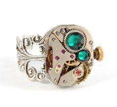 Steampunk Ring Steam Punk Vintage Watch by VictorianCuriosities, $38.00
