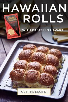 Hawaiian Rolls with Castello Creamy Havarti, ham and pineapple make for a quick and easy dinner ready in minutes! Find the easy sandwich recipe here. Easy Sandwich Recipes, Brunch Recipes, Appetizer Recipes, Appetizers, Baked Donut Recipes, Baking Recipes, Bread Cake, Hawaiian Rolls, Food Inspiration