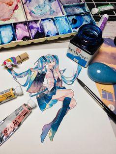 Manga Watercolor, Watercolor Illustration, Character Art, Character Design, Tape Art, Estilo Anime, Aesthetic Drawing, Chica Anime Manga, Anime Sketch
