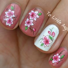 #nail #art #water #decal #sticker #ToLittleAngels #ebay #store #manicure #pink #white #floral #flower #easy #diy