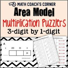 The area model helps students visualize multi-digit multiplication.  Students will practice problem solving skills right along with their multiplication with this challenging workstation activity.Includes 16 cards showing partially completed area models for 3-digit by 1-digit multiplication.