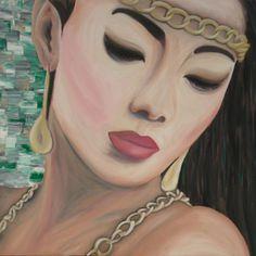 Schilderij van een Koreaanse, Aziatische vrouw in goudtinten.