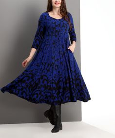 Loving this Blue Floral Swing Midi Dress - Plus on #zulily! #zulilyfinds