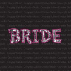 Bride Pink Zebra Stripe Iron On Rhinestone Crystal T-shirt Transfer: Wedding gift