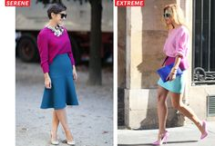 Serene and extreme color blocking as seen on the street at Paris Spring 2013 Fashion Week.