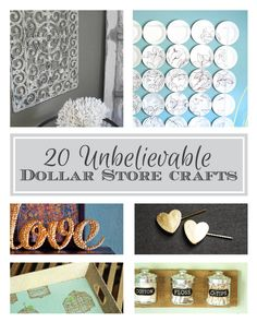 Great dollar store hacks to get you a farmhouse look on a budget. Cheap and inexpensive dollar store craft projects that will make your hom. Diy Craft Projects, Diy Arts And Crafts, Cute Crafts, Creative Crafts, Crafts To Make, Easy Crafts, Craft Ideas, Decor Ideas, Dollar Tree Crafts