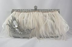 Feather Bridal Clutch Ostrich Feather Ivory by TheOmbreMouse Bridal Clutch Bag, Bridal Handbags, Handmade Clutch, Crystal Brooch, Ostrich Feathers, Bridal Gowns, Swarovski Crystals, Ivory, Bridesmaid Dresses