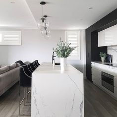 Interior design Ideas - Home Interior Design Studio, Interior Design Kitchen, Monochrome Interior, Home Decor Kitchen, Room Kitchen, Kitchen Island, Modern Kitchen Design, Kitchen Styling, House Rooms