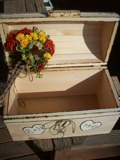 Rustic Wooden Treasure Box for Wedding Reception by Countrysweets