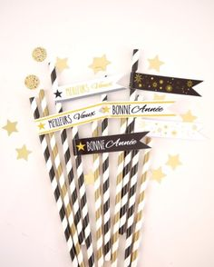 New Year's Eve party ideas - chic decor in black, white and gold