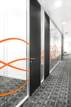 Office BRISTOL-MYERS SQUIBB | Office window graphics installed in London - Glass manifestation swirls and waves in coloured vinyl
