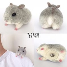 Cute Needle felting wool cute animal hamsters (Via @yukarin5211)