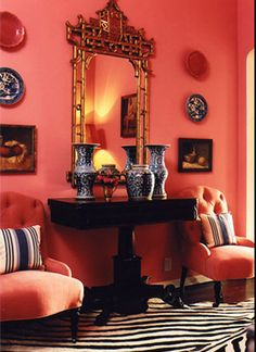 """""""the pink is completely unexpected…  It's like a cherry in your drink."""" as seen in house beautiful, a pink sitting room designed by the fabulous mary mcdonald."""