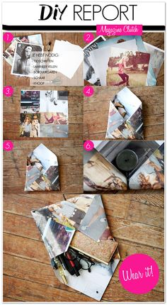 easy diy clutch .. all you need is a magazine and few buttons !!