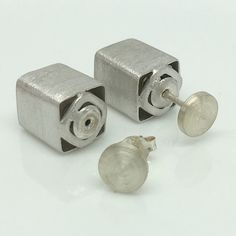 Silver cube front back earrings, double sided earrings, ear jacket, double sided earrings, mens stud earrings, flat disc stud earrings, E101 Double Sided Earrings, Front Back Earrings, Ear Jacket, Stud Earrings For Men, Handmade Silver, Studs, Sterling Silver, Metal, Accessories