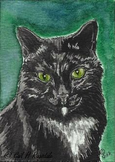 ACEO Original Watercolor Art of Black Cat by Carpiss on Etsy, $9.99