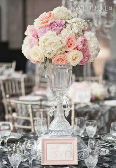 glamorous silk flower centerpieces | ... peach roses wedding centerpiece idea – Wed Luxe Blog Inspiration