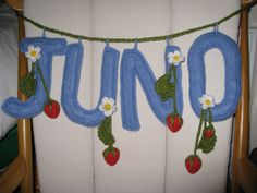 Cath Kidston inspired crochet letters hanging with strawberries Crochet Letters, Cath Kidston, Strawberries, Craft Ideas, Inspired, Crafts, Life, Design, Strawberry Fruit