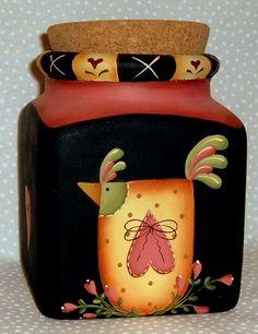 Idee Country - Giada Bertolozzi - Álbuns da web do Picasa Painted Wine Bottles, Painted Mason Jars, Chicken Painting, Painting On Wood, Wine Bottle Crafts, Mason Jar Crafts, Bottle Painting, Bottle Art, Jar Art