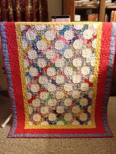 True Love bow tie baby quilt made for my grandson/vintage fabric and hand quilted.
