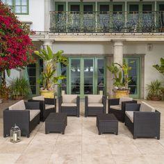 CORONA Salon de jardin 4 places en résine tressée - Gris