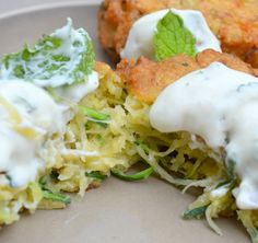 Zucchini Fritters with Mint Yogurt Dip - From Away