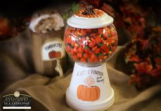 Custom candy container or faux gumball machine.  We customized this one for the new lil' pumpkin and filled it with fall candies
