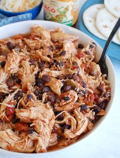 Slow Cooker Shredded Chicken is an easy recipe for shredded chicken. You can use this chicken in all kinds of dishes from tacos, to burrito bowls, to salads, to quesadillas. This chicken is freezer friendly and such a great busy weekday option.// acedarspoon.com #chicken #slowcooker #crockpot #shreddedchicken Slow Cooker Shredded Chicken, Shredded Chicken Recipes, Best Chicken Recipes, Chicken Cooker, Freezer Friendly Meals, Freezer Meals, Easy Meals, Freezable Meals, Freezer Cooking
