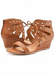 Scalloped Tie Front Wedge