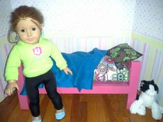 American girl size bed and bedding