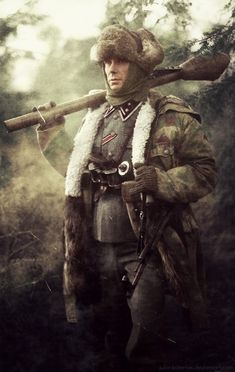 A Waffen-SS soldier stands at the ready with a his Panzerfaust and proper attire for the harsh and frigid Soviet conditions, which proved to be absolute hell for the Germans on the Eastern Front.