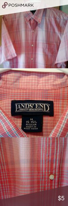 Lands End plaid button up Soft red/coral pink men's button up shirt. Short sleeves,sz M, by Land's End.  In excellent preowned condition. Questions are welcome Happy to bundle Smoking/pet home Thanks for looking Shirts Casual Button Down Shirts