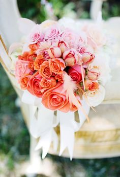 Vibrant tangerine, pink and peach rose bouquet  | Photo by Anne Nunn Photography
