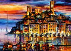 Shop for Leonid Afremov 'Cannes - France' Giclee Print Canvas Wall Art. Get free delivery On EVERYTHING* Overstock - Your Online Art Gallery Store! Oil Painting On Canvas, Painting Prints, Canvas Wall Art, Knife Painting, City Painting, Painting Art, Watercolor Painting, Art Prints, Modern Impressionism