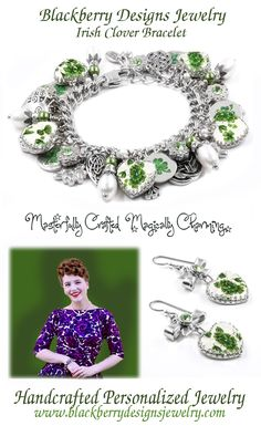 This amazing four leaf clover Irish Bracelet is handcrafted from images of a vintage china pattern c. 1940's. Top this lovely piece off with fresh water pearls, peridot Swarovski crystals, and tons of Irish infinity knots and charms and this lovely piece is sure to be a hit for any occasion. This is not real broken china, but a reproduction of a vintage broken china pattern.