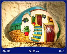Piedras Pintadas- Tema Andalucia Colorful Andalusia themed painted rock.