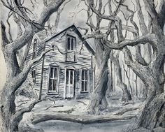 House in the Woods in Ink and Wash House In The Woods, Ink, Painting, Painting Art, Paintings, India Ink, Drawings
