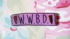 $8 Buffy pin, w.w.b.d. willow, Buffy the vampire slayer, cross, stake, Holographic glitter, sassy, tumblr, 90's jewelry,